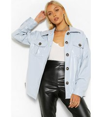 patent belted jacket, grey