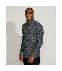suéter masculino em tricô gola alta azul