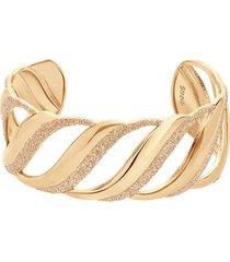 bracciale rigido in ottone dorato e glitter per donna