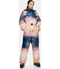 *ombré printed hooded ski snow suit by topshop sno - multi