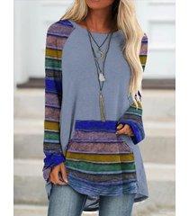 camicetta a maniche lunghe patchwork con stampa a righe multicolore per donna