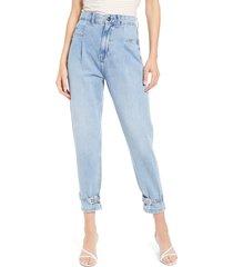 women's river island high waist belted cuff slim jeans, size 6 us - blue