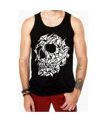 camiseta regata criativa urbana caveira assimétrica tattoo