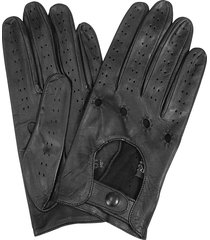 forzieri designer women's gloves, women's black perforated italian leather driving gloves
