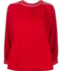 a.n.g.e.l.o. vintage cult 1970s contrast embroidery blouse - red