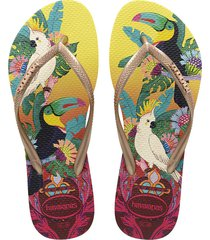 sandalias chanclas havaianas para hombre amarillo slim tropical
