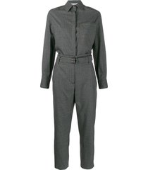 brunello cucinelli long-sleeve tailored jumpsuit - grey