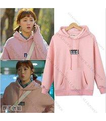 korean weightlifting fairy sung kyung cap hoodie sweater women pink sweatershirt