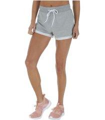 shorts fila athenas new - feminino - cinza claro