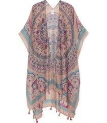 women's paisley print kimono withtassels blush multi one size from sole society