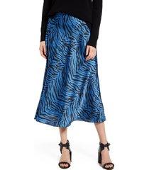 women's rebecca minkoff davis leopard print midi skirt, size 00 - blue
