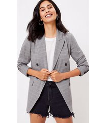 loft petite plaid double breasted blazer