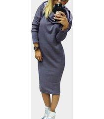 midi con capucha gris de manga larga jumper vestido