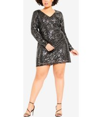 city chic women's trendy plus size bright lights dress