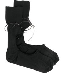 simone rocha ribbon-embellished cut-out socks - black