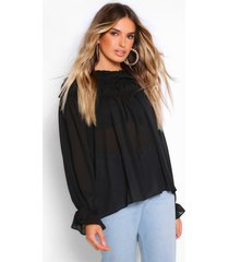 geweven blouse met hoge ruches kraag, black