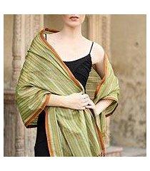 cotton and silk shawl, 'india summer' (india)
