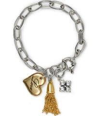 patricia nash two-tone love heart charm link bracelet