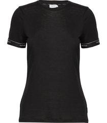 ss logo cuff top t-shirts & tops short-sleeved zwart calvin klein