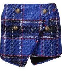 balmain blue cotton-wool blend shorts
