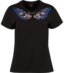 pinko imbrunire embroidered cotton t-shirt