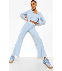 3-delige geribbelde cardigan en wide leg broek set, dusty blue