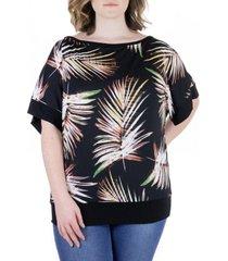 plus size palm leaf print wide sleeve top