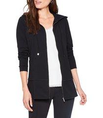 women's nic+zoe top tier perfect peplum hooded jacket, size x-small - black