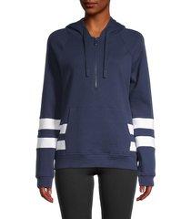 marc new york performance women's stripe quarter-zip hoodie - midnight - size s