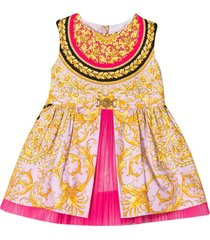 young versace pink flared dress with baroque press
