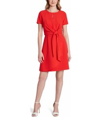 tahari asl tie-front sheath dress