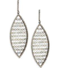 black rhodium-plated sterling silver, labradorite & diamond drop earrings