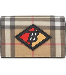 burberry small logo graphic vintage check folding wallet - neutrals