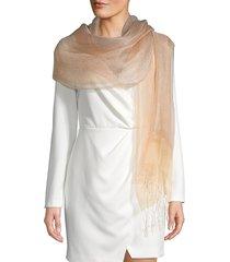 saachi women's fringe silk scarf - orange