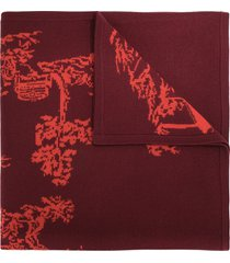 shanghai tang chinoiseries intarsia scarf - red