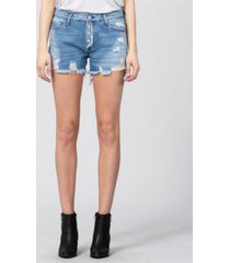 vervet mid rise distressed button up jean shorts