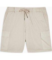 mens cream mushroom brown woven cargo shorts