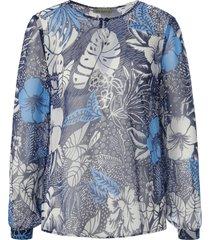 blouse 100% zijde lange mouwen van uta raasch blauw