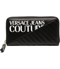 versace jeans couture quilted zip-around wallet - black