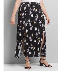 lane bryant women's double-slit maxi skirt 14/16 cape bay floral