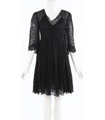 stella mccartney silk crochet knee length dress black sz: s