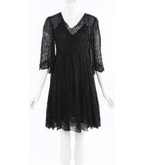 stella mccartney silk crochet knee length dress