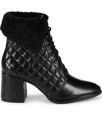 cantyn faux fur & quilted leather block-heel booties