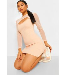petite cut out mesh sleeve bodycon dress, nude
