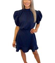 ax paris high neck puff sleeve skater dress