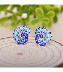 orecchini a chiodo in smalto blu di pavone placcati in argento di stile etnico per signorina regalo per lei