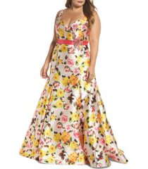 plus size women's mac duggal floral trumpet gown, size 14w - pink