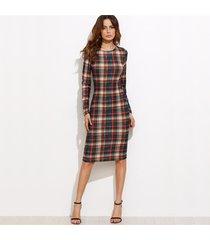 women's bodycon autumn plaid long sleeve knee length pencil dress