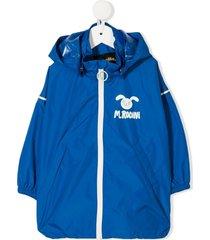 mini rodini logo-print jacket - blue