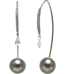 tahitian pearl and diamond drop threader earrings